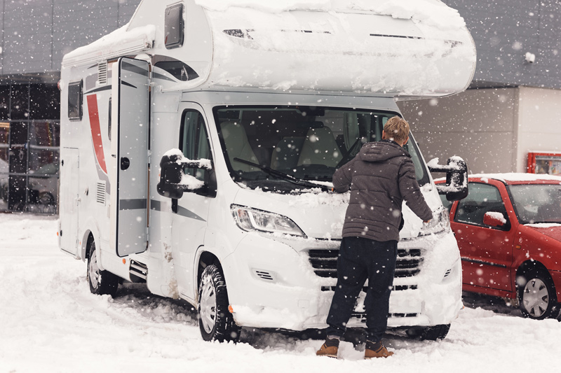 Clean snow off an rv for winter