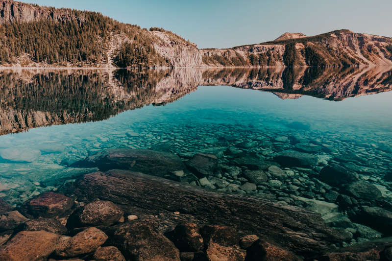 cleetwood cove at crater lake national park in oregon
