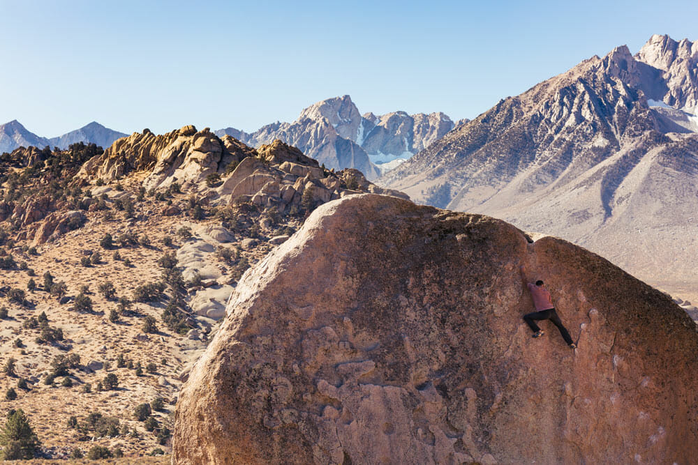 Climbing near the Alabama Hills in Bishop, CA