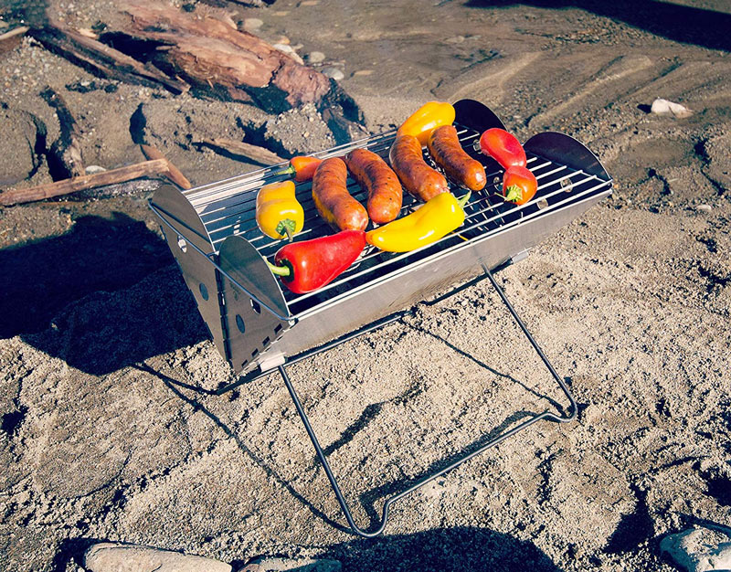 Collapsible, portable campfire grill