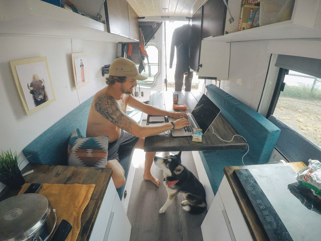 working on the road as a photographer digital nomad in a campervan conversion