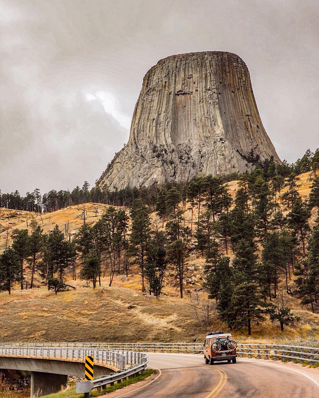 traveling to devils tower in a diy camper van conversion