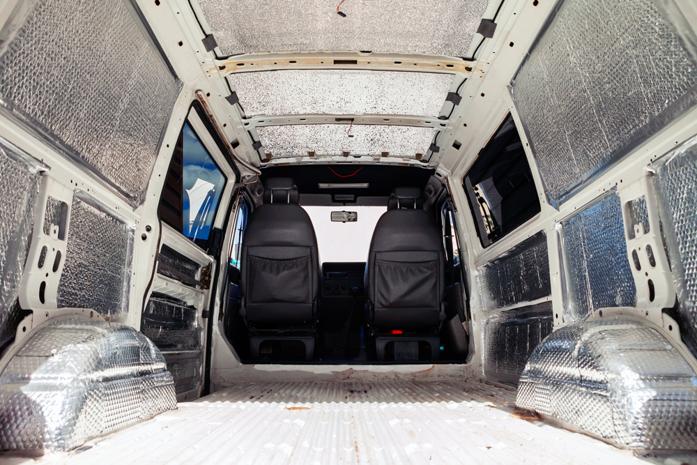 adding insulation to a diy camper van conversion