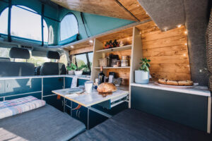 the inside of a diy camper van conversion