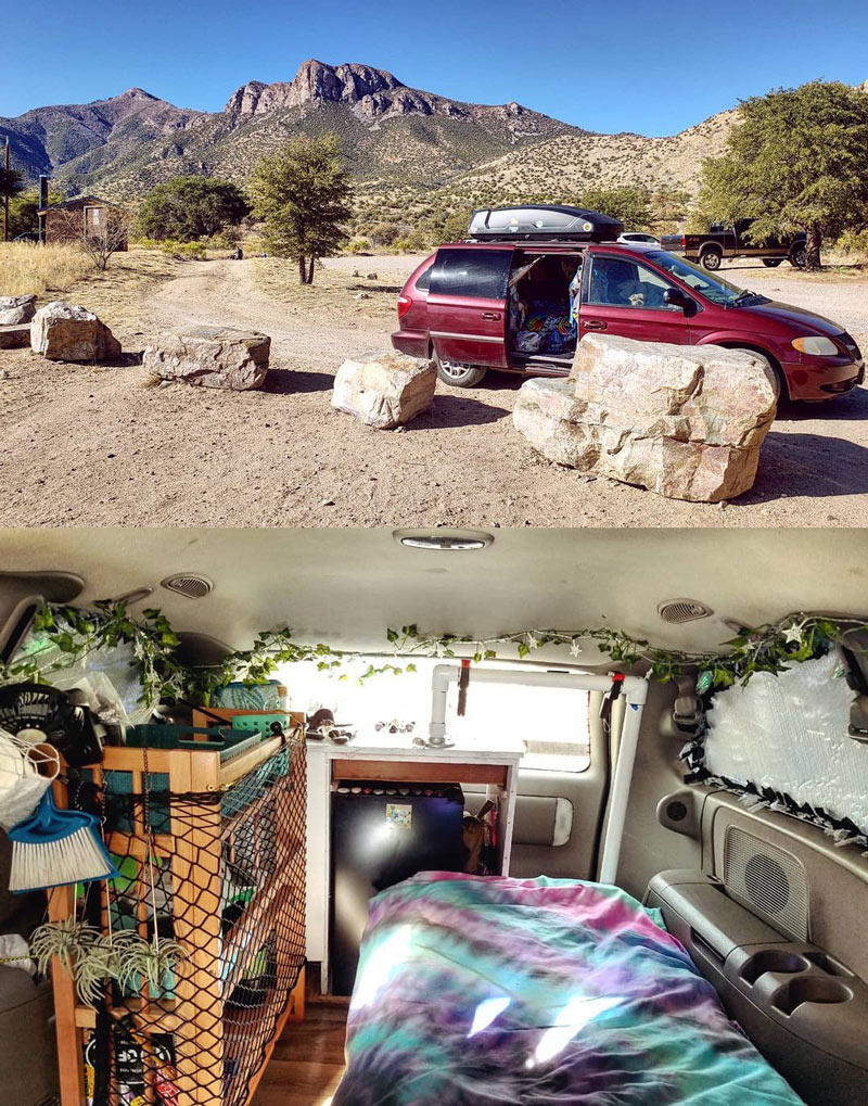 living in a dodge caravan minivan camper conversion