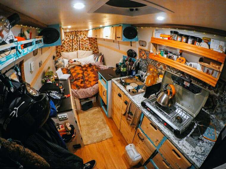 camper van organization in a diy van life build