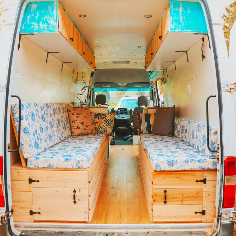 custom diy camper van conversion bed design