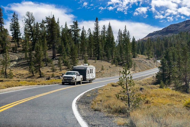 driving a 5th wheel travel trailer to go boondocking in a national forest