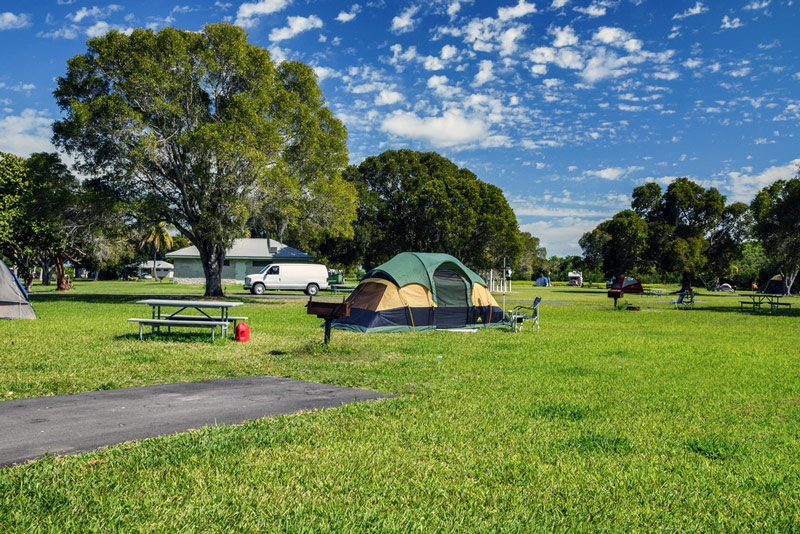 tent at Flamingo campground in everglades national park in florida
