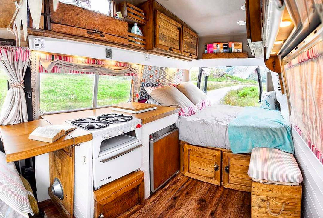Spacious diy van build layout