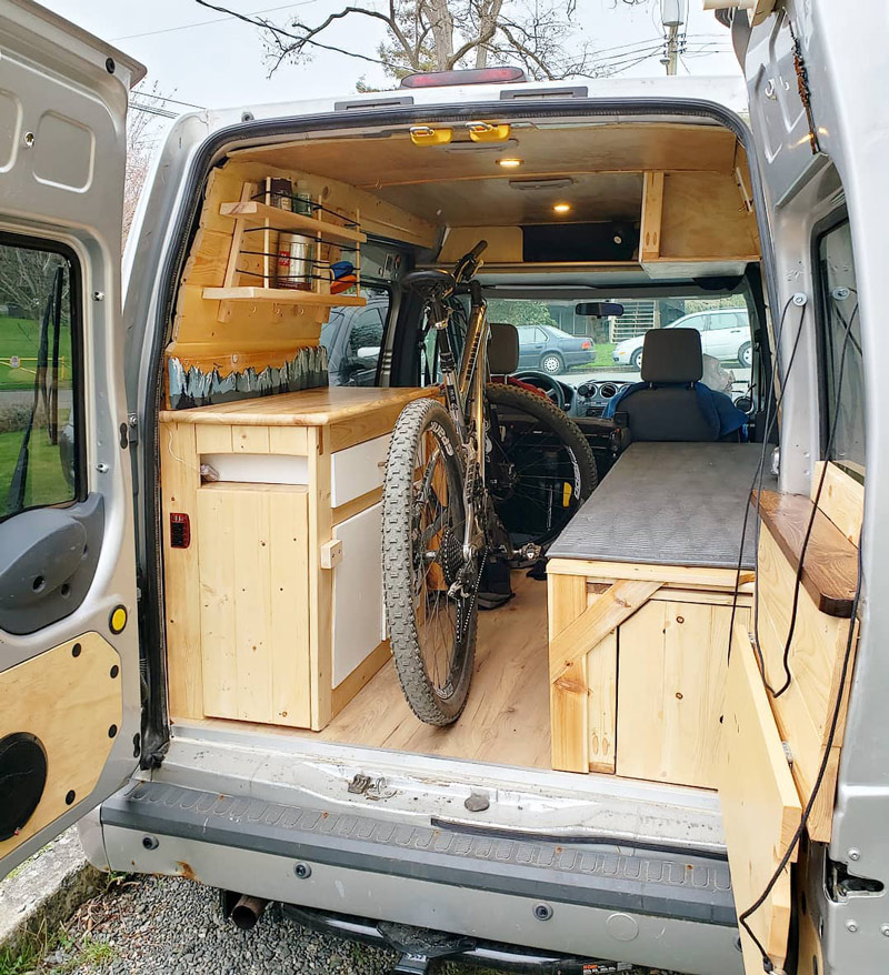 living in a ford transit connect camper van conversion