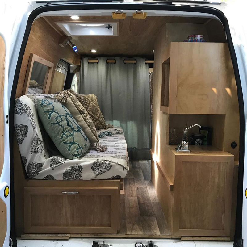 camper van conversion design in a ford transit connect