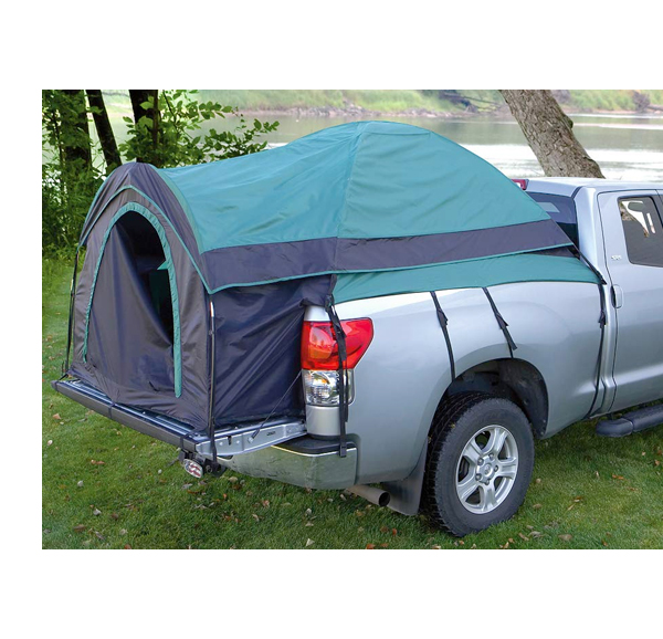 family camping in a pick up truck tent