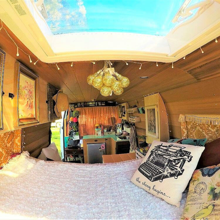 van life interior design build with a skylight