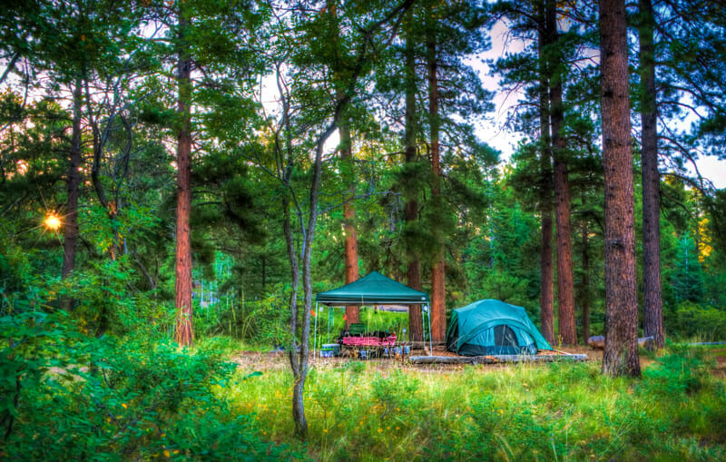 tent camping at the grand canyon on the north rim