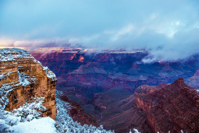 winter in grand canyon national park on the north rim
