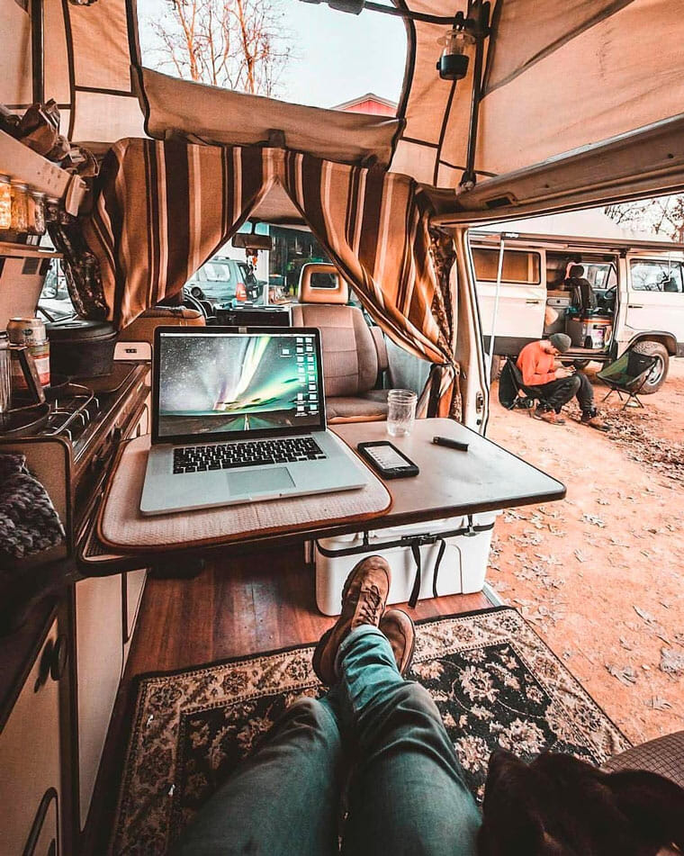 work on the road in a DIY camper van