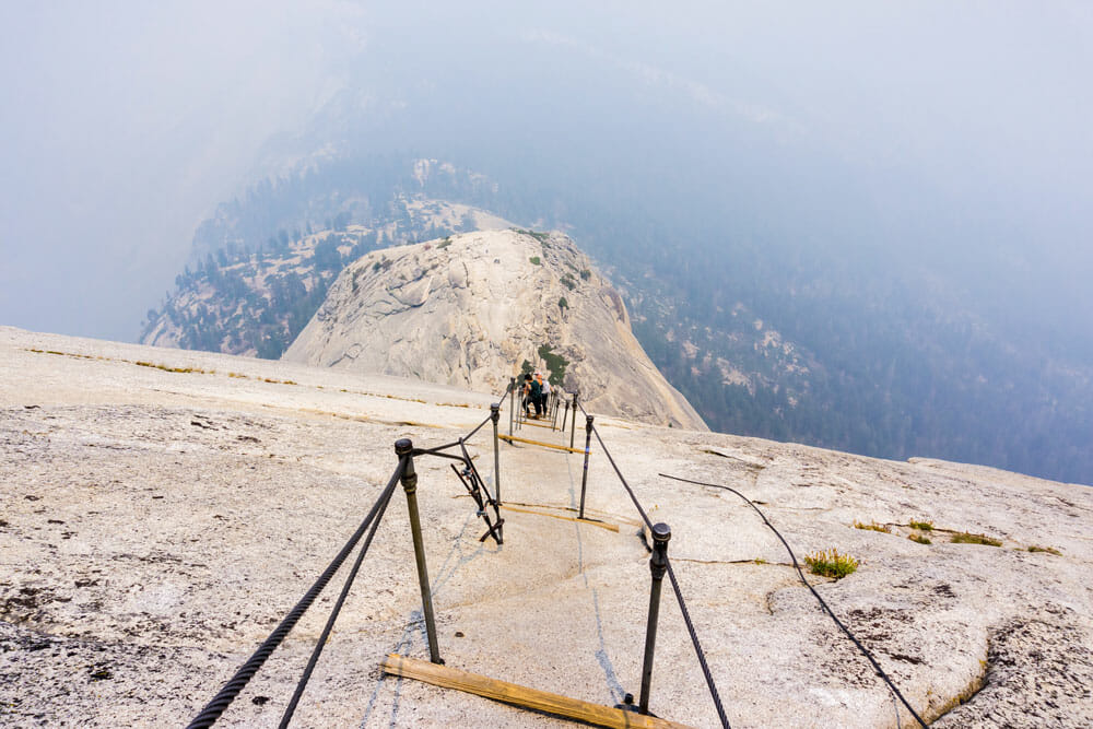 Looking down at the half dome cables in Yosemite National Park