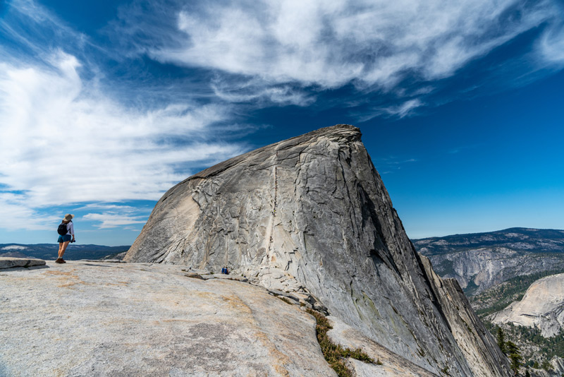 climbing up the half dome hiking trail