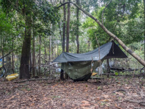 hammock camping in the jungle with a bug net and rain fly