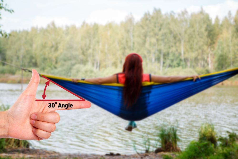 30 degree hang angle when hammock camping