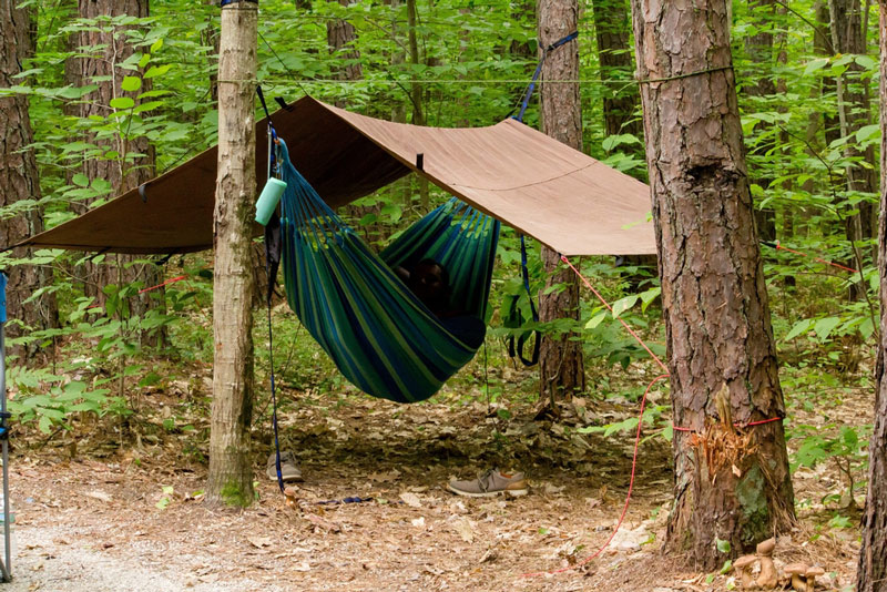 camping with a hammock rain fly tarp
