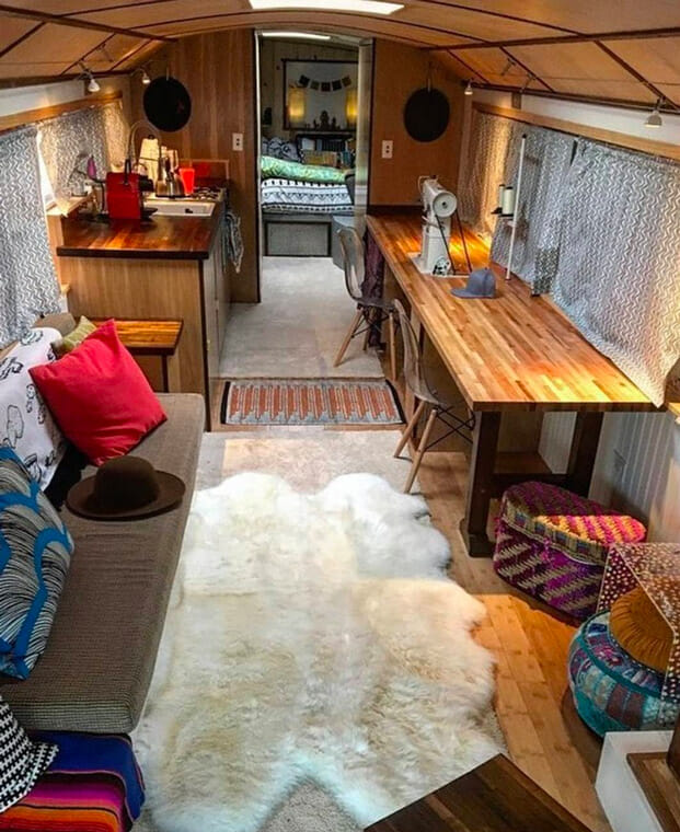 working on the road as a digital nomad in a mobile school bus conversion