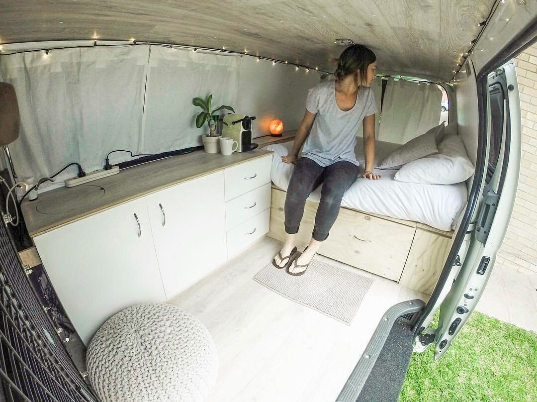 clean van life layout design