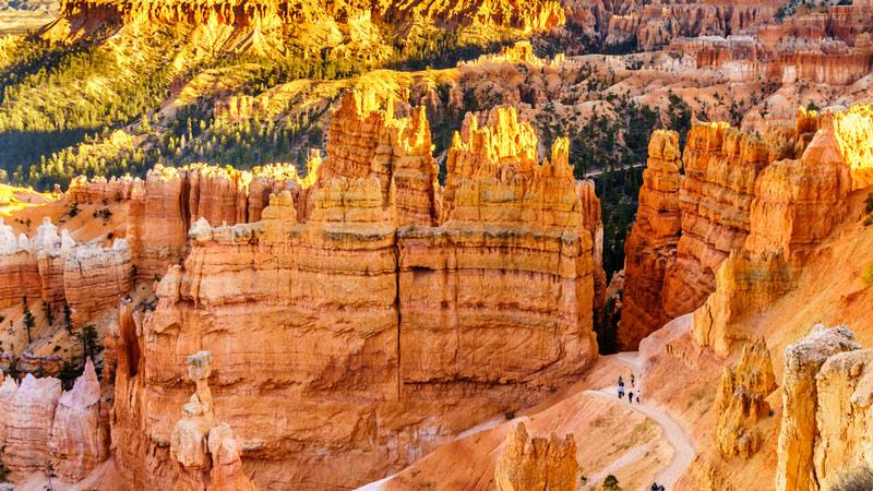 hiking among spires in bryce canyon national park utah