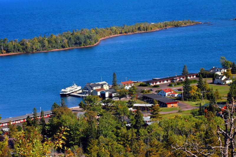 boat docking at isle royal national park in michigan