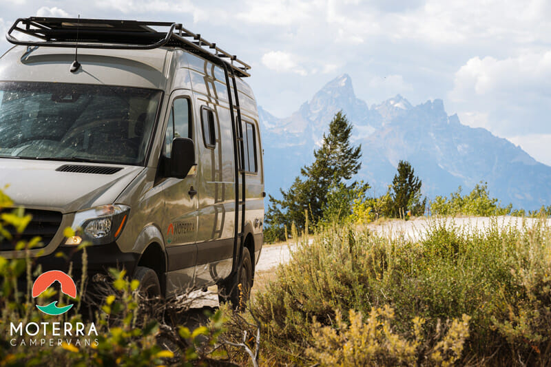 Driving from jackson hole, wyoming to the Grand Teton National Park in a camper van conversion