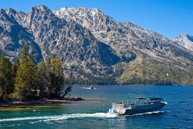 shuttle boat on jenny lake in grand teton national park