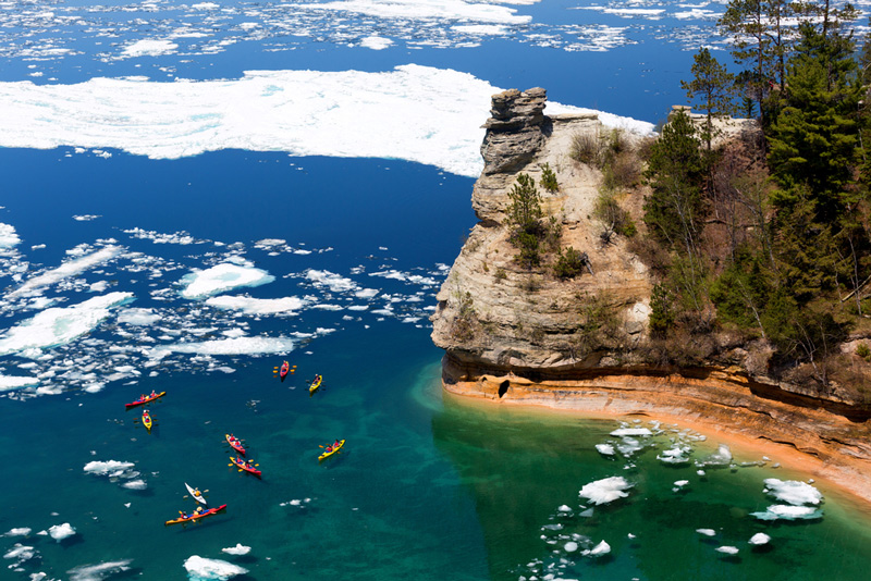 Kayaking At Pictured Rocks National Lakeshore In Michigan Run By The National Park Service
