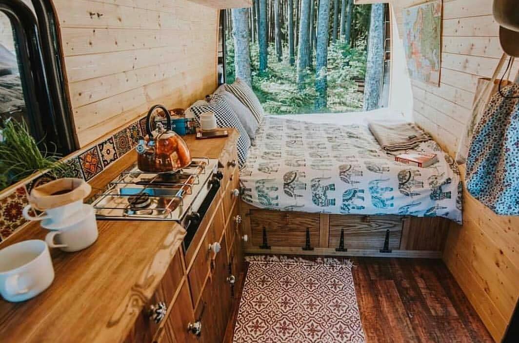 Rustic reclaimed wood in a DIY camper conversion