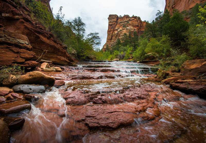 waterfalls and rushing rivers in the kolob canyon area