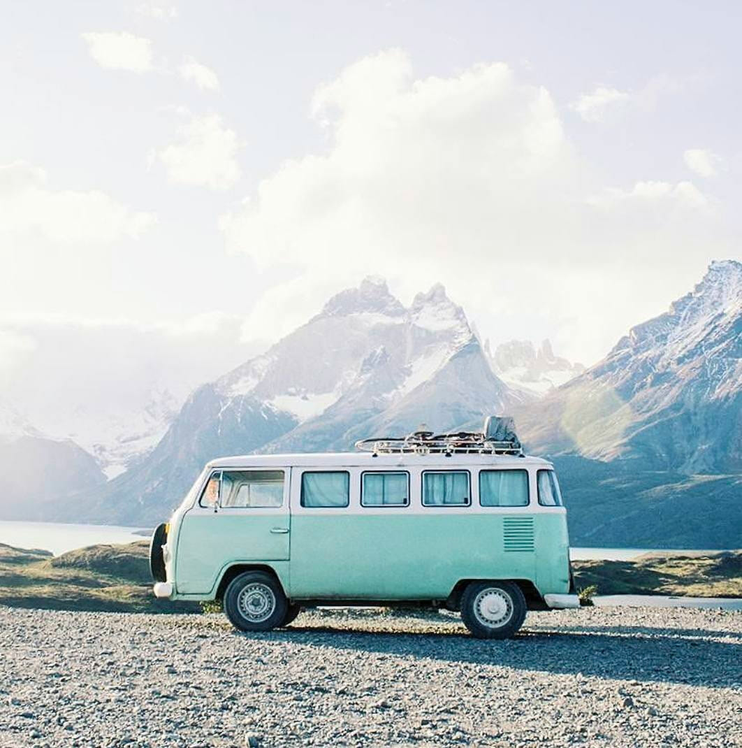 vw travel campervan in the mountains
