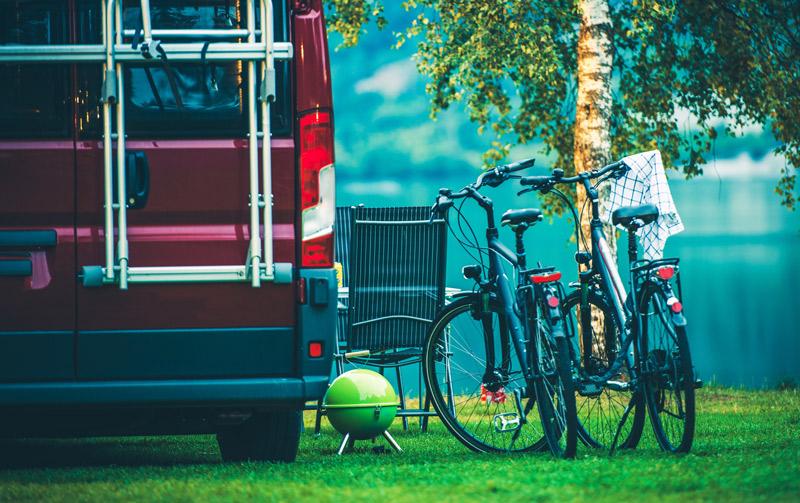 ladder mount bike rack on a diy camper van conversion