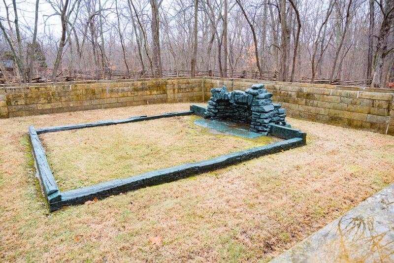 Outline of president Lincoln's boyhood cabin in Indiana