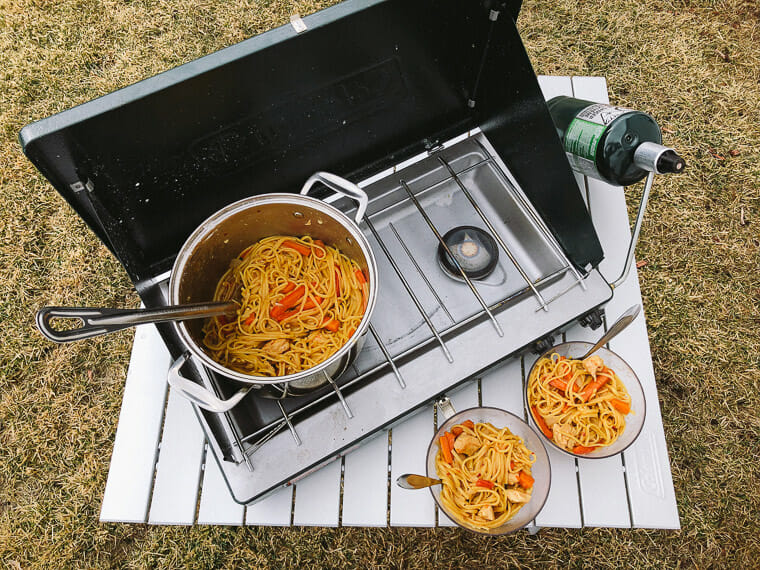 One Pot lo mein camping dinner recipe