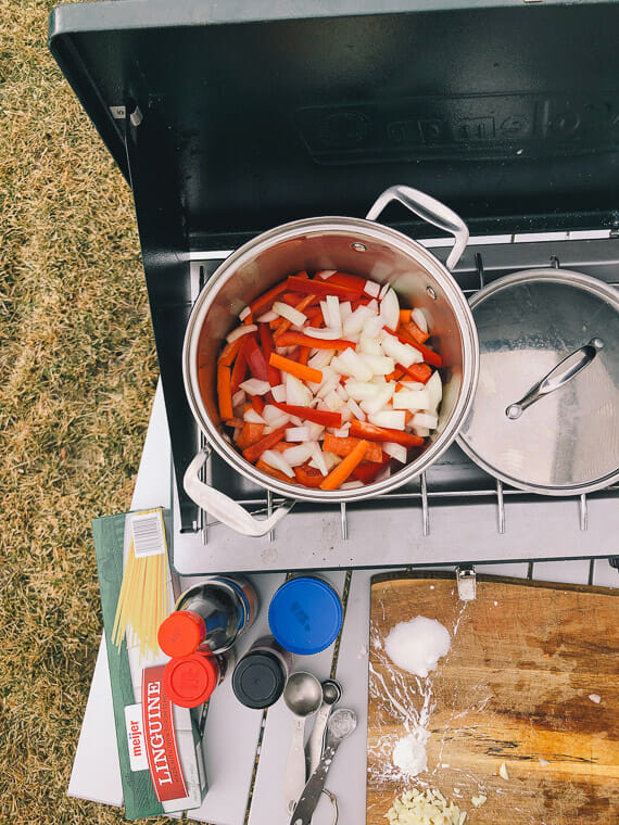 Lo mein one pot recipe over a camping stove