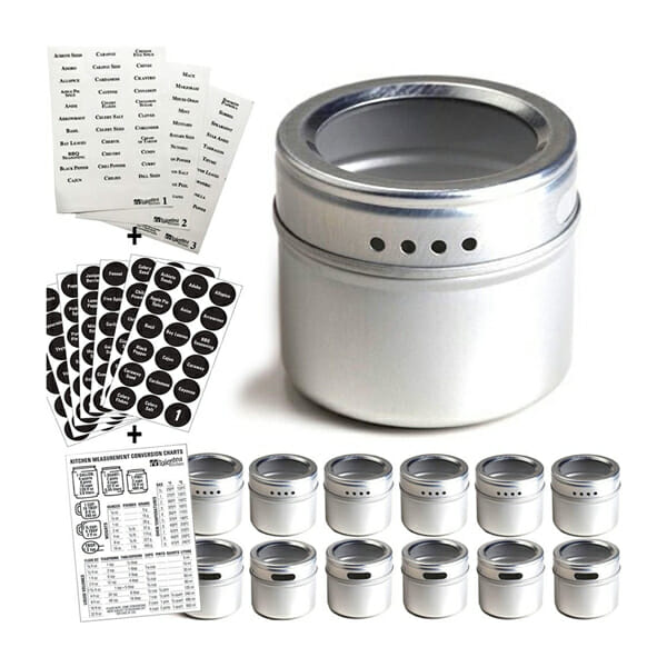 Keep your camper kitchen organized with magnetic spice tins