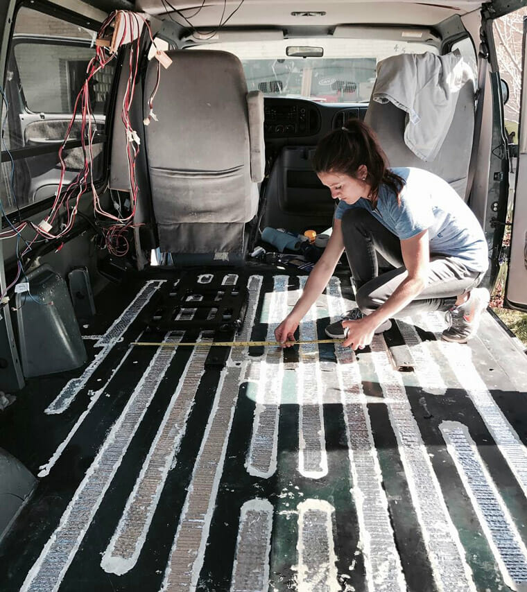 Measuring the interior of a campervan layout