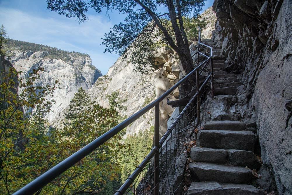 Climbing steps to the top of the Mist Trail, Yosemite National Park