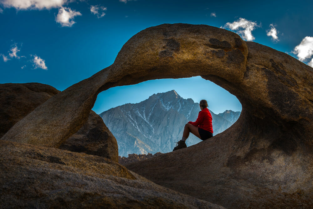 Mobius Arch framing Mt. Whitney in the Alabama Hills, California