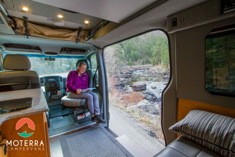 relaxing in a campervan at grand teton national park