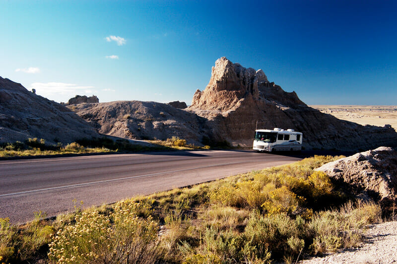 rv driving up a mountain with a tire pressure monitoring system installed
