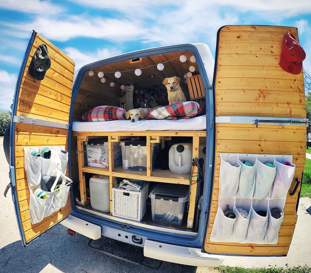 adding storage space to a DIY campervan
