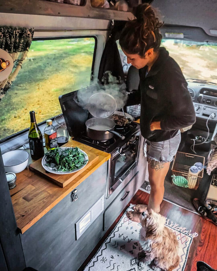 making food in a camper van conversion build kitchen