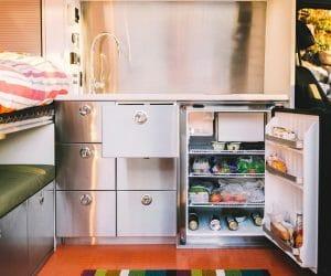 Upright 12v DC Refrigerator In A Camper Van Conversion