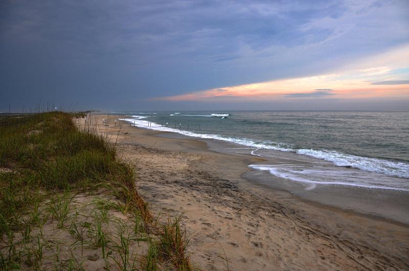 north carolina national seashore park at sunset
